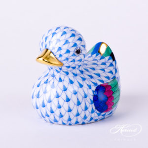 "Duck 15239-0-00 VHB Blue Fish scale decor. Herend fine china animal figurine. Hand painted. Length: 7.0 cm (2.75""L)"