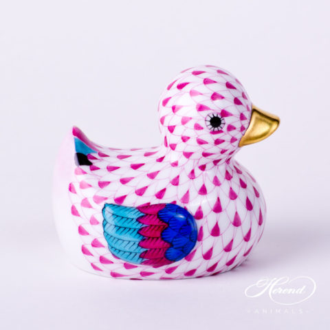 "Duck 15239-0-00 VHP Purple Fish scale decor. Herend fine china animal figurine. Hand painted. Length: 7.0 cm (2.75""L)"