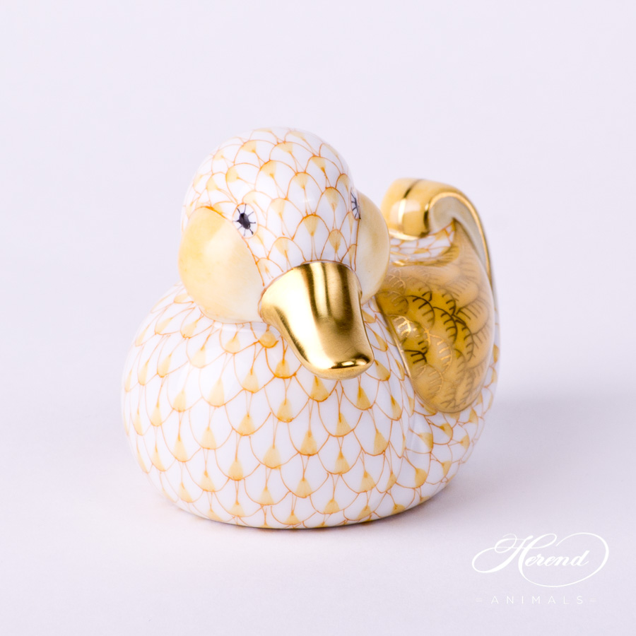 """Duck 5464-0-00 VHJM Yellow Fish scale decor. Herend fine china animal figurine. Hand painted. Length: 7.0 cm (2.75""""L)"""