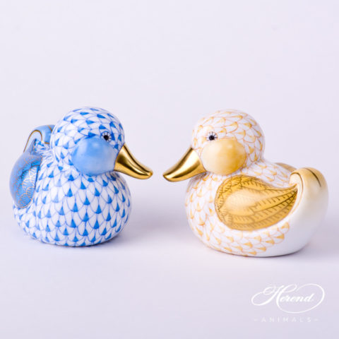 "Duck 5464-0-00 VHBM Blue and 5464-0-00 VHJM Yellow Fish scale decor. Herend fine china animal figurines. Hand painted. Length: 7.0 cm (2.75""L)"