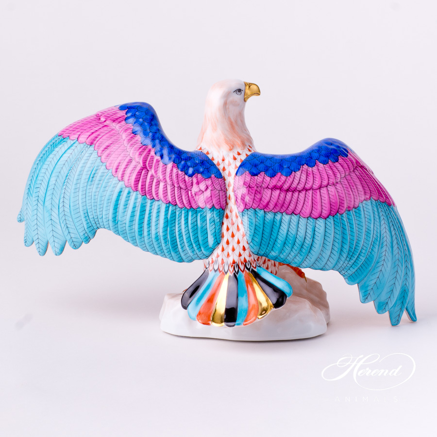 "Eagle 15810-0-00 VHR Red Fish scale decor. Herend Fine china animal figurine. Hand painted. Width: 28.5 cm (11.25""W)"