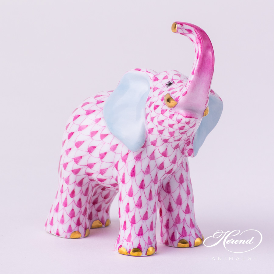 "Small Elephant 5272-0-00 VHP Purple Fish scale decor. Herend Fine china animal figurine. Hand painted. Height: 9.5 cm (3.75""H)"
