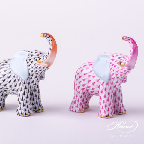 "Elephant Animal Figurines 5272-0-00 VHN Black and VHP Purple Fish Scale patterns. Herend Fine china hand painted. Height: 9.5 cm (3.75""H)"