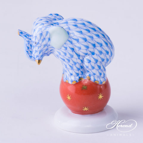 """Elephant on Ball 5215-0-00 VHB Blue Fish scale decor. Herend Fine china animal figurine. Hand painted. Height: 6.7 cm (2.6""""H)"""