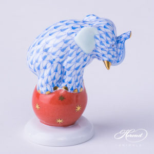 "Elephant on Ball 5215-0-00 VHB Blue Fish scale decor. Herend Fine china animal figurine. Hand painted. Height: 6.7 cm (2.6""H)"