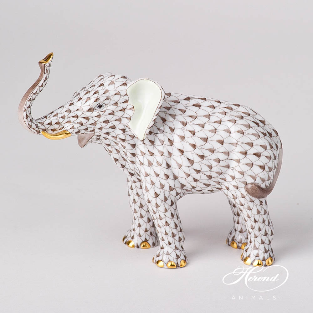 "Elephant 15920-0-00 VHBR1 Brown Fish scale design. Elephant Lucky. Herend fine china animal figurine. Hand painted. Length: 15 cm (6""L)."