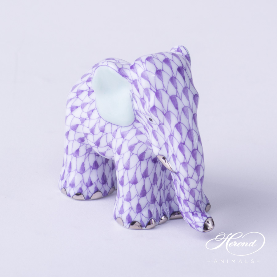 "Elephant Small 5265-0-00 VHL-PT Lilac Fish scale with Platinum decor. Herend Fine china animal figurine. Hand painted. Height: 4.8 cm (1.9""H)"