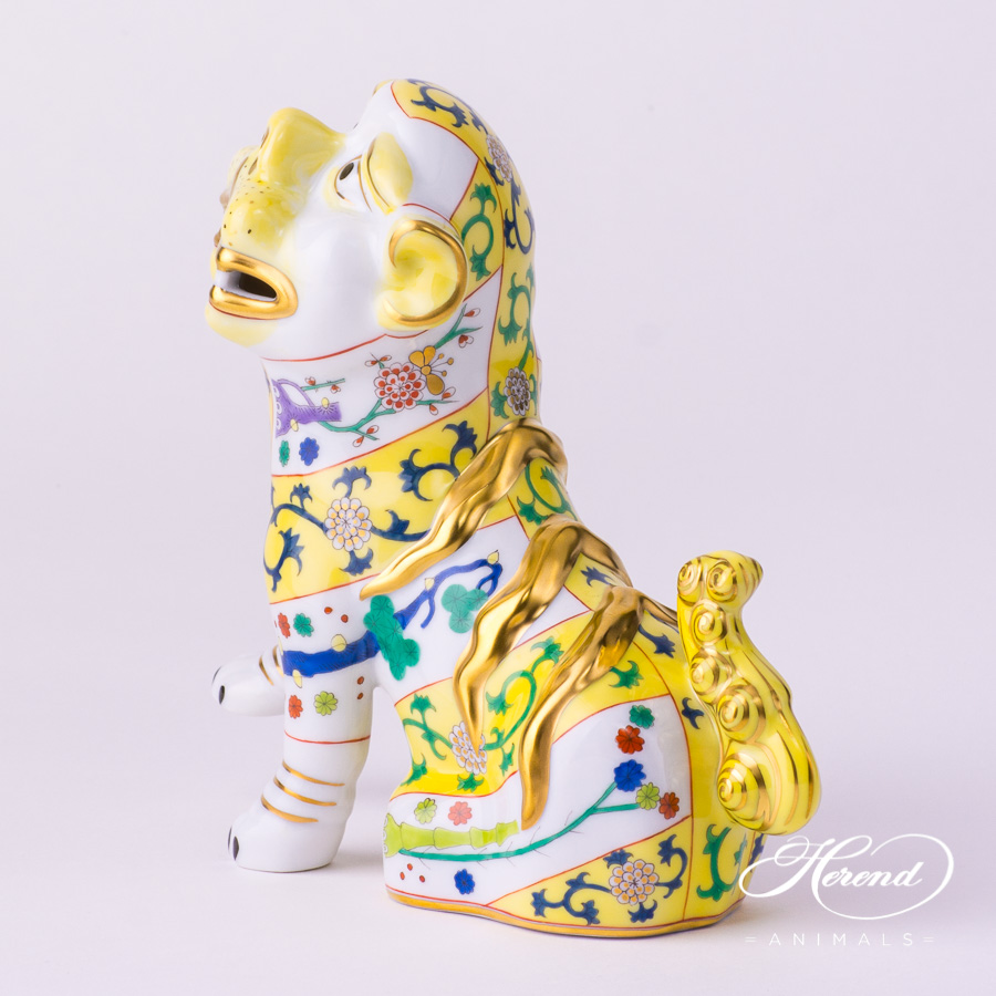 "Fo Dog 5309-0-00 SJ-M - Siang Yellow Special decor. Herend fine china animal figurine. Hand painted. Height 15.0 cm (6""H)"
