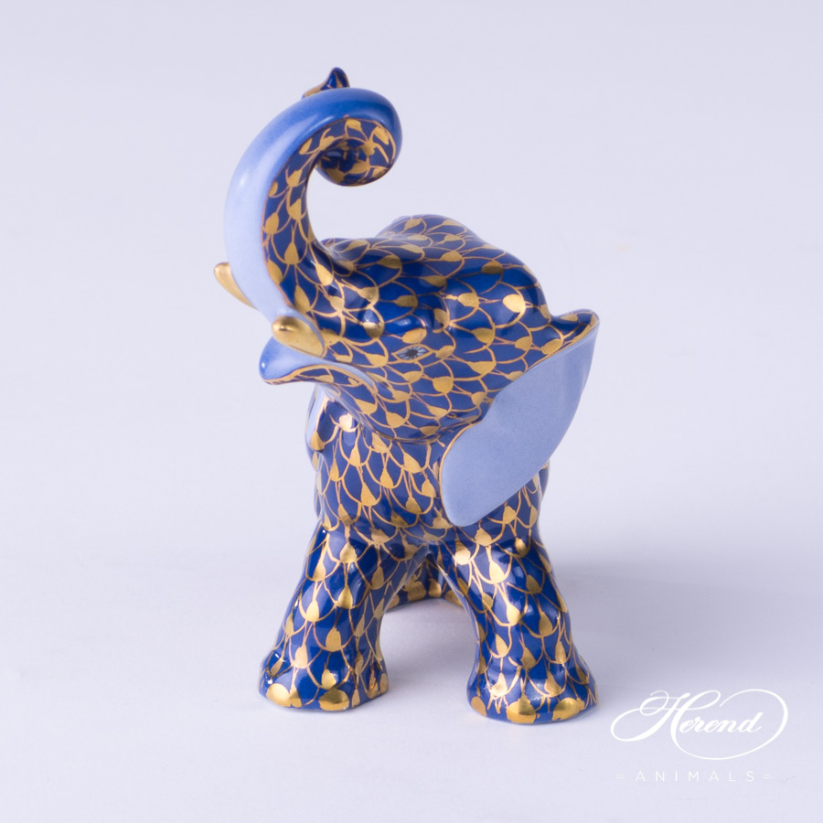 "Elephant 15266-0-00 VHB-OR Navy Blue w. Gold Fish scale design. Herend fine china hand painted. Herend animal figurine. Height: 8.5 cm (3.5""H)."