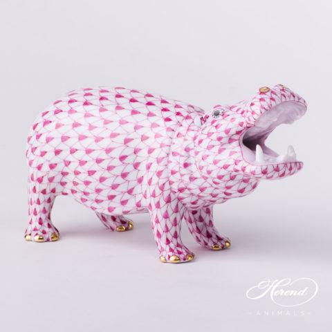 "Hippo 15851-0-00 VHP Purple Fish scale decor. Herend Fine china animal figurine. Hand painted. Length: 14.0 cm (5.5""L)"