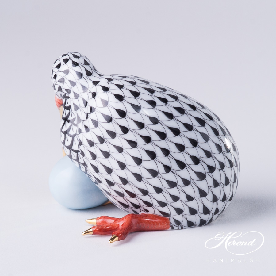 "Kiwi Bird w. Egg 15334-0-00 VHN Black Fish scale decor. Herend Fine china animal figurine. Hand painted. Height: 7.0 cm (2.75""H)"