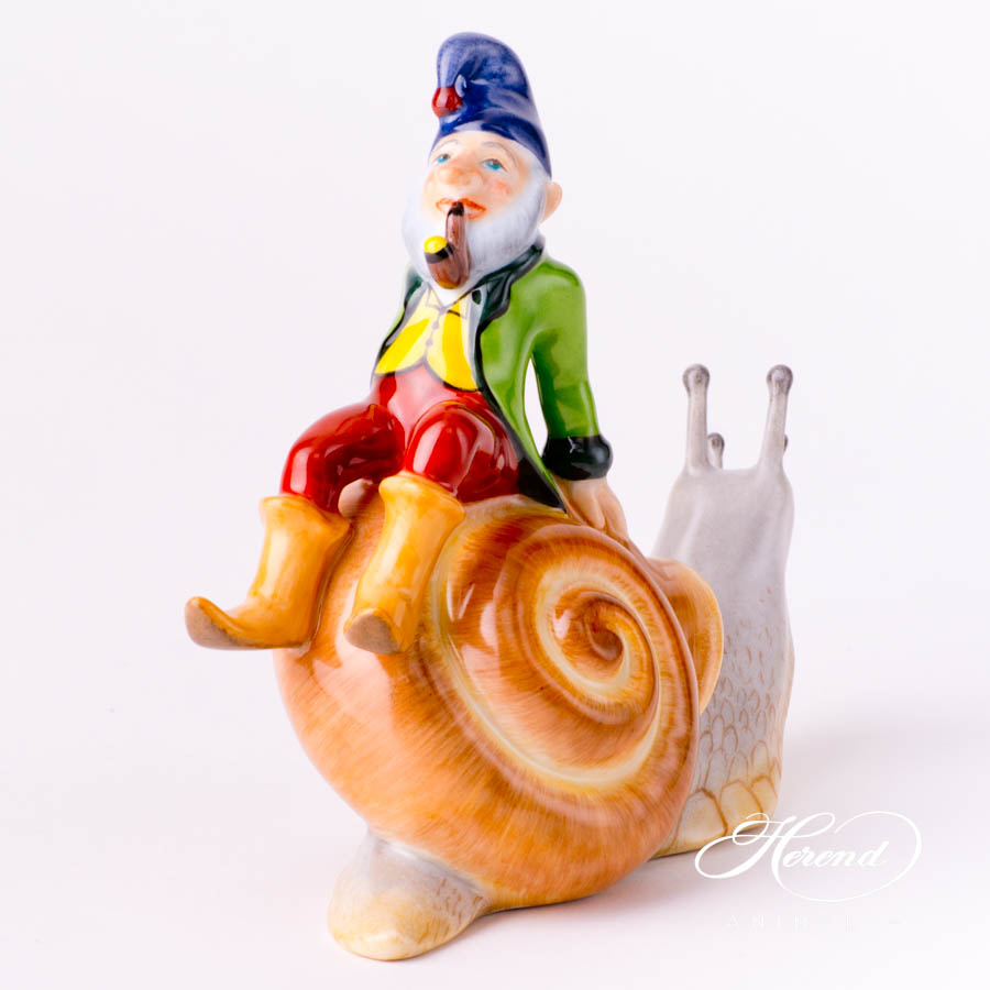 "Kobold on Snail 15691-0-00 CD Naturalistic decor. Herend Fine china animal figurine. Hand painted. Length: 14.0 cm (5.5""L)"