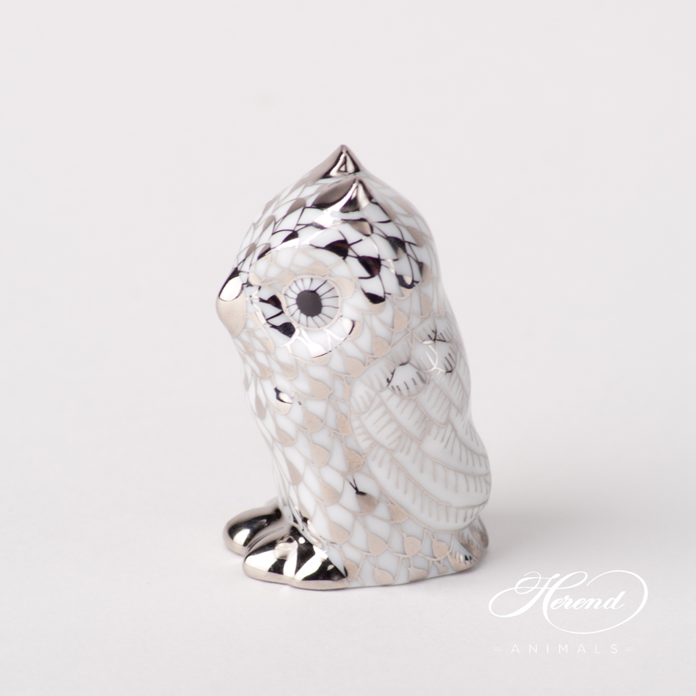"Owl Baby 5102 PTVH Platinum Fish scale special new design. Herend fine china animal figurine. Hand painted. Height 4.6 cm (1.75""H)."