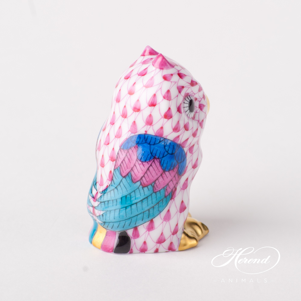 """Owl Baby 5102-0-00 VHP Purple Fish scale design. Herend fine china animal figurine. Hand painted. Height 4.6 cm (1.75""""H)."""