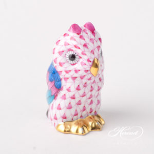 "Owl Baby 5102-0-00 VHP Purple Fish scale design. Herend fine china animal figurine. Hand painted. Height 4.6 cm (1.75""H)."