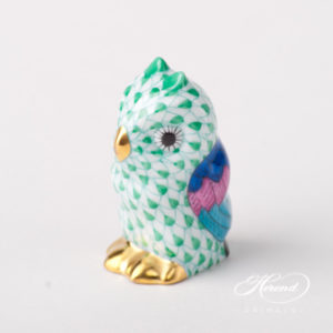 "Owl Baby 5102-0-00 VHV Green Fish scale design. Herend fine china animal figurine. Hand painted. Height 4.6 cm (1.75""H)."