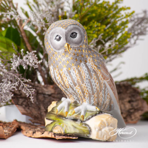 "Barred Owl 5902-0-00 VHSP89 Special Fish Scale design. Herend fine china animal figurine. Handpainted. Limited edition. Height 15 cm (6""H)."