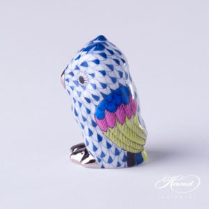 "Owl Baby 5102-0-00 VHFB-PT Navy Blue Fish scale with Platinum decor. Herend Fine china animal figurine. Hand painted. Height 4.6 cm (1.75""H)"