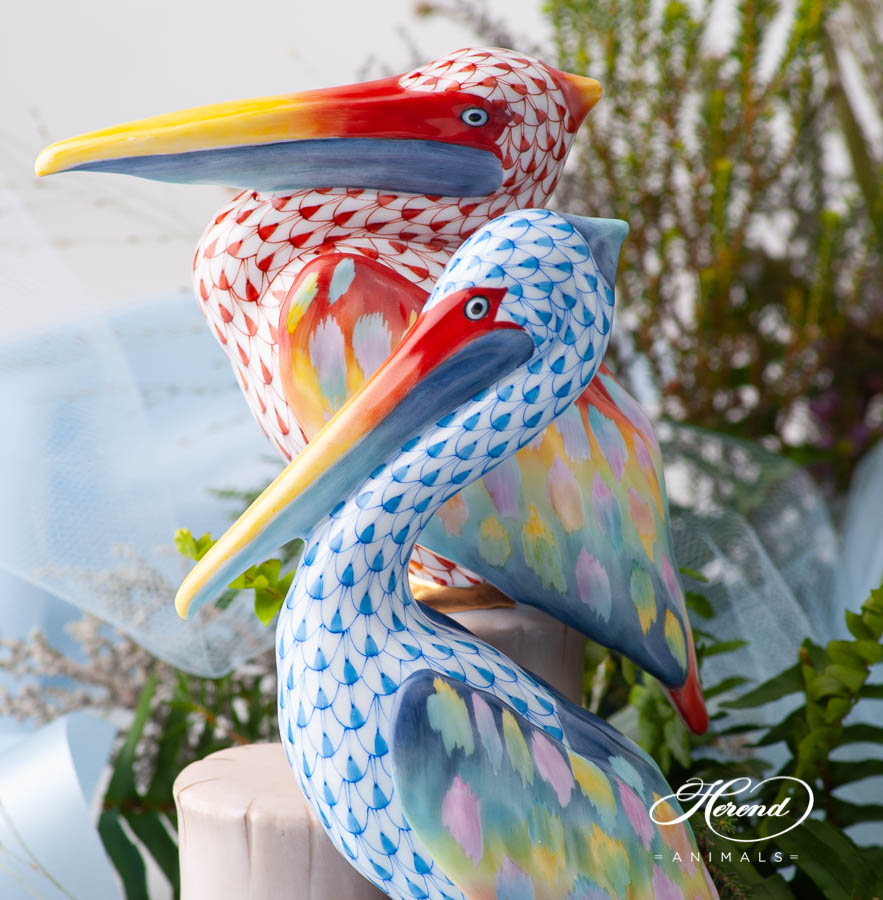 "Pelicans 16025 VHSP111 Special Fish Scale design. Herend fine china animal figurine. Handpainted. Limited edition. Height 20.5 cm (8""H)."