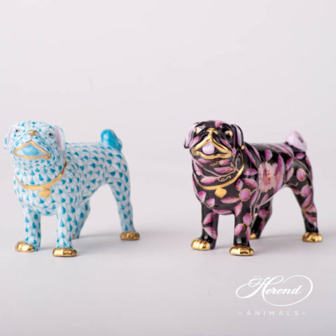 """Dog - Pug Lola 15490-0-00 VHTQ Fish scale and ZOPA-FN Purple and Black special new design. Herend fine china animal figurine. Hand painted. Length 9.5 cm (3.75""""L)."""