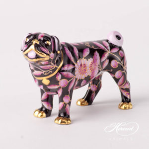 "Dog - Pug Lola 15490-0-00 ZOPA-FN Purple and Black special new design. Herend fine china animal figurine. Hand painted. Length 9.5 cm (3.75""L)."