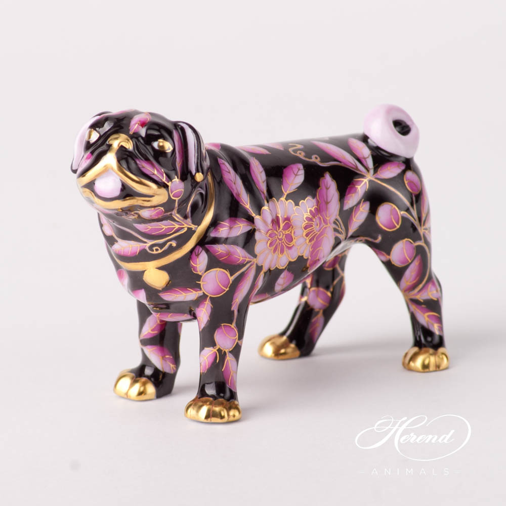 """Dog - Pug Lola 15490-0-00 ZOPA-FN Purple and Black special new design. Herend fine china animal figurine. Hand painted. Length 9.5 cm (3.75""""L)."""