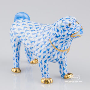 "Dog 15424-0-00 VHB Blue Fish Scale decor. Herend Fine china hand painted. Hunting Dog animal figurine. Height: 10.5 cm (4""H)"