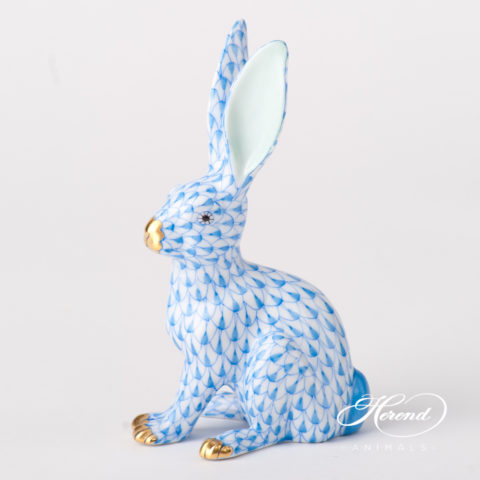 "Rabbit 15929-0-00 VHB Blue Fish scale design. Herend fine china animal figurine. Hand painted. Height 12.5 cm (5""H)."