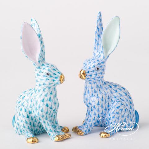 "Rabbit 15929-0-00 VHTQ Turquoise and VHB Blue Fish scale design. Herend fine china animal figurines. Hand painted. Height 12.5 cm (5""H)."