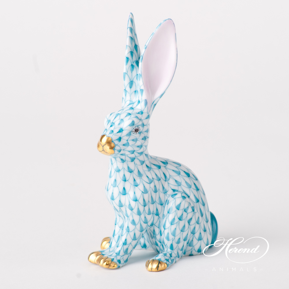 "Rabbit 15929-0-00 VHQT Turquoise Fish scale design. Herend fine china animal figurine. Hand painted. Height 12.5 cm (5""H)."