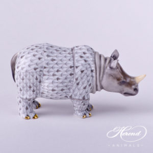 "Rhino 15333-0-00 VHSP61 Special Gray Fish scale and Naturalistic decor. Herend Fine china animal figurine. Rhino in Herend Gift Box. Length: 13.0 cm (5""L)"