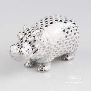 "Hippo 15332-0-00 PTVH Platinum Fish scale decor. Herend Fine china animal figurine. Hand painted. Length: 11.2 cm (4.5""L)"