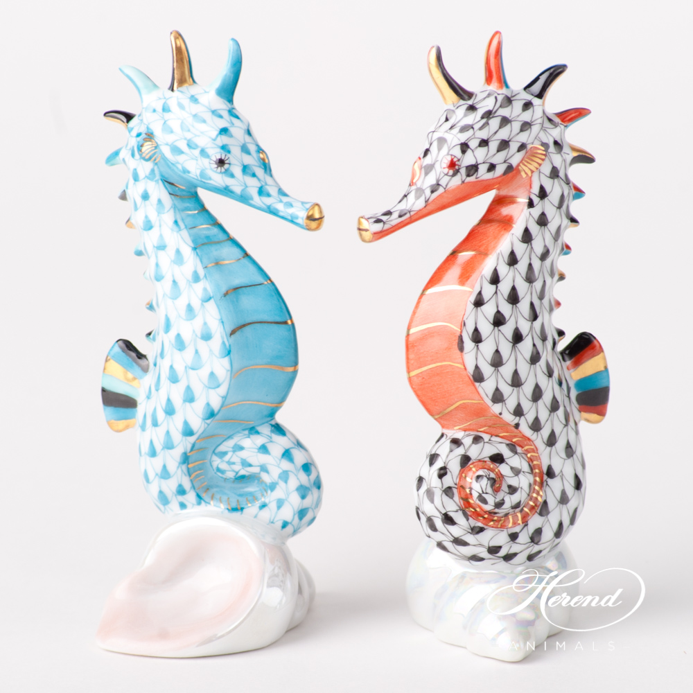 "Seahorse 15325-0-00 VHTQ Turquoise and VHN Black Fish scale design. Herend fine china animal figurines. Hand painted. Height 10.2 cm (4""H)."