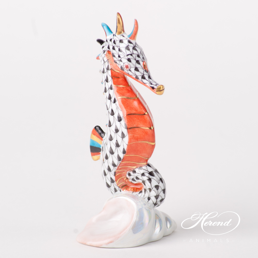 "Seahorse 15325-0-00 VHN Black Fish scale design. Herend fine china animal figurine. Hand painted. Height 10.2 cm (4""H)."