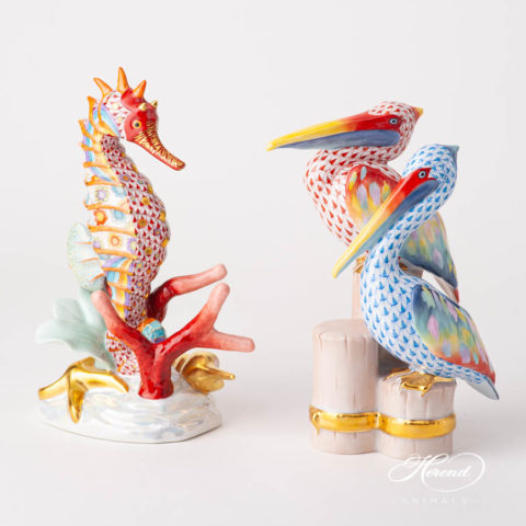 "Seahorse 16026 VHSP112 Special Fish Scale design. Herend fine china animal figurine. Handpainted. Limited edition. Height 22 cm (8.5""H)."