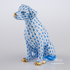 "Dog - Seated 15566-0-00 VHB Blue Fish Scale decor. Herend Fine china hand painted. Dalmatian dog animal figurine. Height: 10.0 cm (3.75""H)"