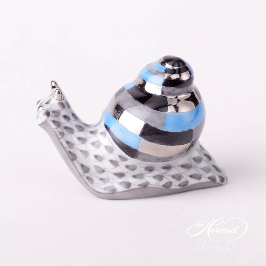 "Snail 15518-0-00 VHL Lilac Fish Scale design. Herend fine china animal figurine. Hand painted. Length: 4.6 cm (1.75""L)."