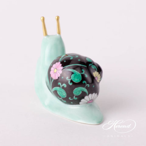 "Snail 15375-0-00 SNS Siang Noir Special decor. Herend fine china animal figurine. Hand painted. Length: 9.8 cm (4""L)"