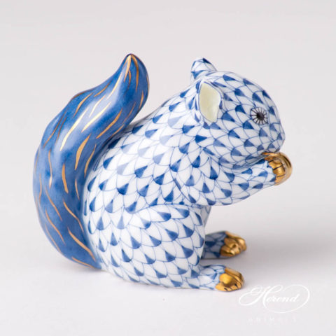 """Squirrel15716-0-00 VHFB Navy BlueFish scale design.Herend fine china animal figurine. Hand painted. Height 6.5 cm (2.5""""H)."""