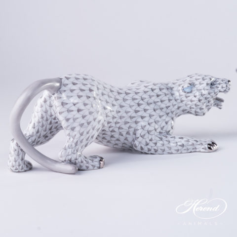 "Tiger 5086-0-00 VHG-PT Gray Fish scale with Platinum decor. Herend Fine china animal figurine. Hand painted. Length: 23.0 cm (9""L)"