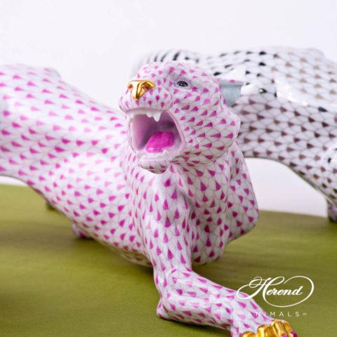 "Big Tiger 5209-0-00 VHP Purple / Raspberry Fish scale decor. Herend fine china animal figurine. Hand painted. Length: 45.2 cm (17.75""L)"