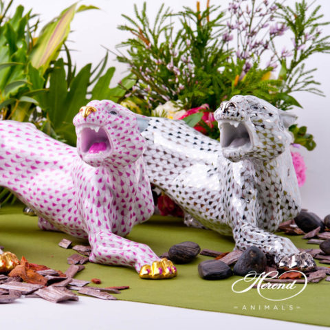 "Big Tiger 5209-0-00 VHOR Gold - VHP Purple and PTVH Platinum fish scale decors. Herend fine china animal figurines. Hand painted. Length: 45 cm (17.75""L)"