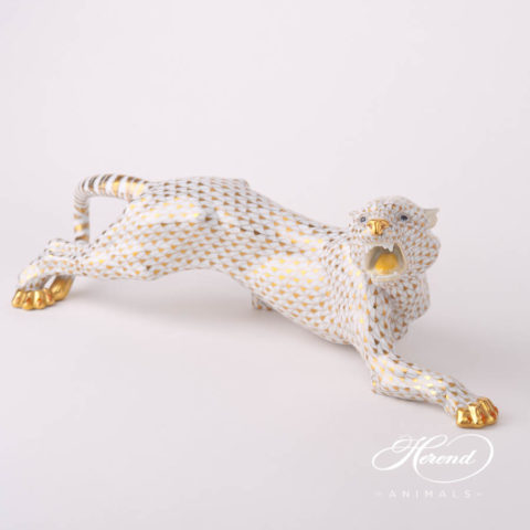"Big Tiger 5209-0-00 VHOR Gold fish scale special new decor. Herend fine china animal figurine. Hand painted. Length: 45 cm (17.75""L)"