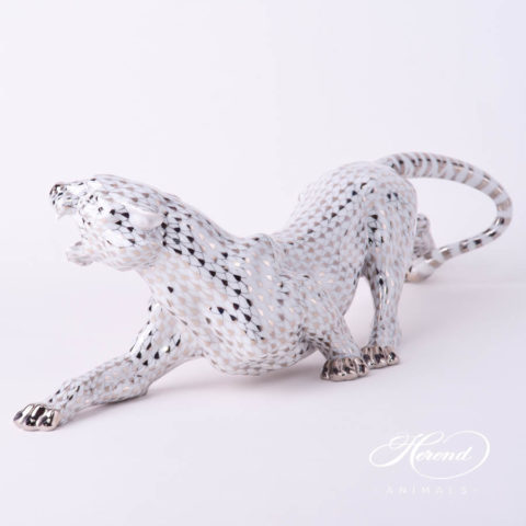 """Big Tiger 5209-0-00 VHOR Gold - VHP Purple and PTVH Platinum fish scale decors. Herend fine china animal figurines. Hand painted. Length: 45 cm (17.75""""L)"""