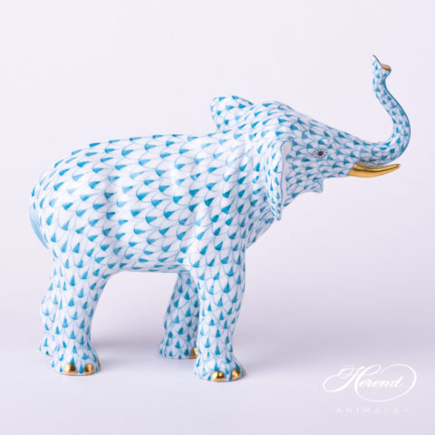 "Elephant 15920-0-00 VHTQ Turquoise Fish scale decor. Herend Fine china animal figurine. Hand painted. Height: 12.5 cm (4.9""H)"