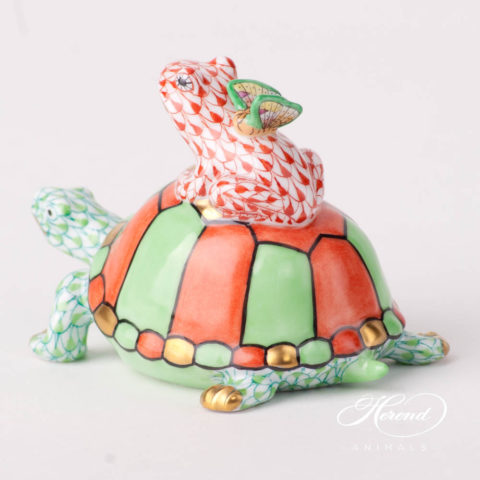 """Turtle withFrog andButterfly 15069-0-00 VHV2+VH+CD - Lime Green + Red Fish scale design. Herend fine china animal figurine. Hand painted. Length: 9 cm (3.5""""L)."""