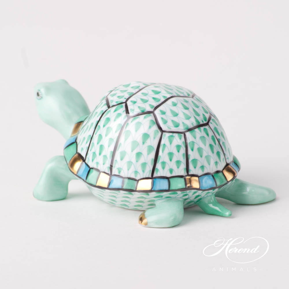 "Turtle 5508-0-00 VHV Green Fish scale design. Herend fine china animal figurine. Hand painted. Length: 9.5 cm (3.75""L)."