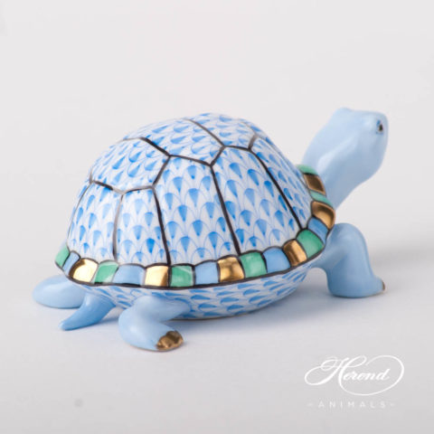 "Turtle 5508-0-00 VHB Blue Fish scale design. Herend fine china animal figurine. Hand painted. Length: 9.5 cm (3.75""L)."