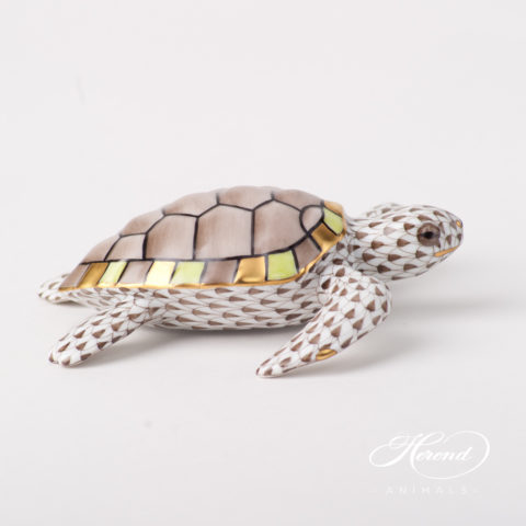 """Turtle 15480-0-00 VHBR1 Brown Fish scale design. Herend fine china animal figurine. Hand painted. Length: 11 cm (4.25""""L)."""