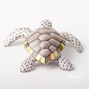 "Turtle 15480-0-00 VHBR1 Brown Fish scale design. Herend fine china animal figurine. Hand painted. Length: 11 cm (4.25""L)."